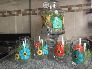 Vitrolero de vidrio con 8 vasos
