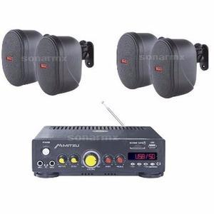 Amplificador Sonido Ambiental 4 Bafles Ambientales Bocinas
