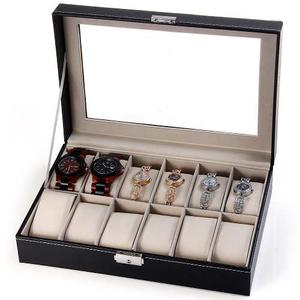 Caja Organizadora P/joyas/relojes 12 Compartimentos Polipiel