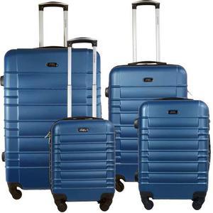 Set 4 Maletas Rigidas Resistente Viaje 4 Rueda Azul Kit Rojo