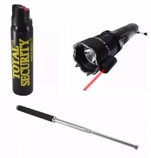 Kit Defensa Personal Lampara De Toques Con Laser +baston+gas
