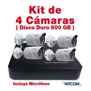 Kit Cctv Witcom 4 Cam Hd 720p Disco Duro 500gb Micrófono