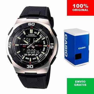 Reloj Casio Aq 164 Negro - Cronómetro 60 Lapsos - Wr - Cfmx