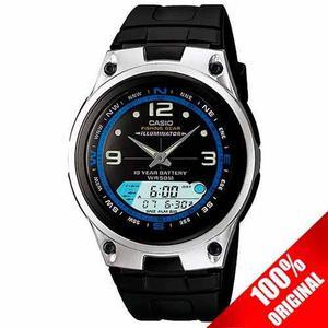 Reloj Casio Aw82 Negro Fases Lunares Cronómetro Modo Pesca