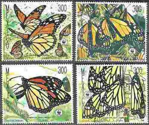 Mexico  Mariposa Monarca 4 Timbres Nuevos Impecables