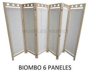 Biombo De Madera Elegante Y Practico 6 Paneles-envio Gratis