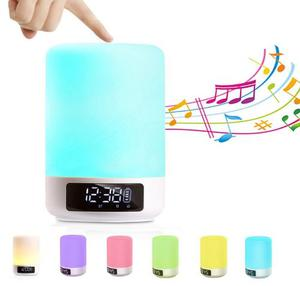 Bocina Bluetooth Lampara Led Reloj Multicolor Rgb Sd Celular