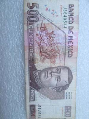 Billete 500 Pesos Ignacio Zaragoza Usado Escaso