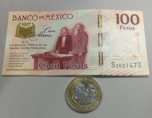 Billete De 100 Pesos Constitución Y Moneda Envió Gratis