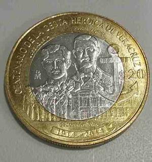 Moneda De 20 Pesos Centenario De Veracruz Envió