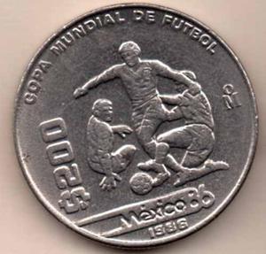 Una Moneda 200 Pesos Mundial De Futbol Mexico 86