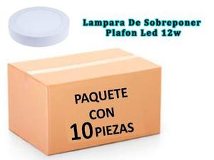 Lampara Sobreponer Plafon Led 12w Luz Blanca Paquete 10 Pzas