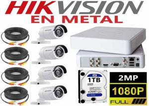 Kit Video Vigilancia 4 Cámaras Hd p / 2mp En Metal 1 Tb