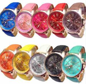 Lote 10 Relojes Geneva Hombres Mujeres Mayoreo Alta Calidad