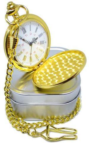 Reloj De Bolsillo Tipo Vintage Plateado O Dorado Leontina