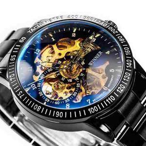 Reloj Mecánico Automático Skeleton Winners Negro+pulsera