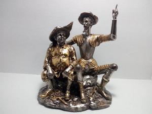 Figura De Quijote Y Sancho De Resina Acabado Bronce E,gratis