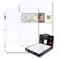Paquete Con 25 Hojas Bcw Para Billetes De 4 Espacios