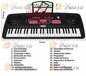 Teclado Musical Ksr 54 Teclas Con Micro Mas Efectos Y Sonido