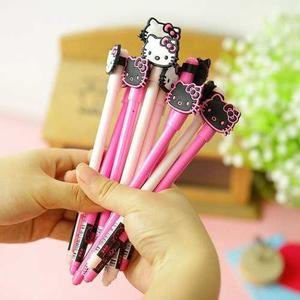 2 Plumas Gel Tinta Negra Kawaii Hello Kitty