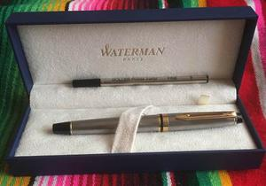 Pluma Waterman Expert Iii - Plata Con Negro Y Detalles Dorad