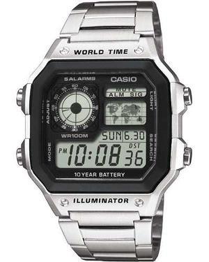 Reloj Casio Ae Acero 5 Alarmas Temporizador Luz Agua100m