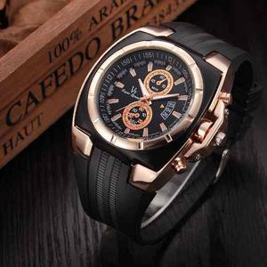 Reloj Deportivo Silicon Hombre Moda Caballero Dorado Lujo V8