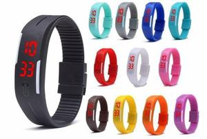 Reloj Pulsera Con Boton Silicon De Colores Hora