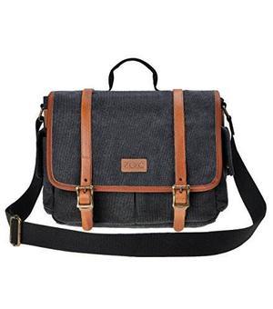 Zlyc Canvas Camera Bag Leather Trim Dslr Slr Messenger Bag W
