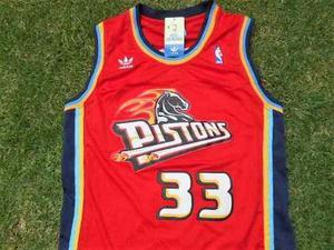 Jersey Pistons Detroit Roja Clasica Retro Grant Hill