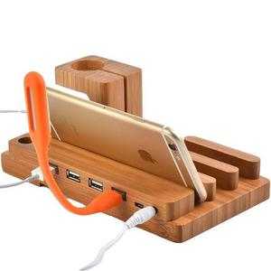 Base Dock 3 Estacion 4 Cargador Bambu Ipad Iphone Applewatch