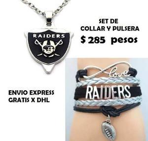 Set Collar Pulsera Raiders Oklad Nfl Envio Gratis Brazalete