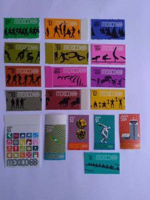 29 Timbres Nuevos/usados Olimpiadas Mexico 68 Series