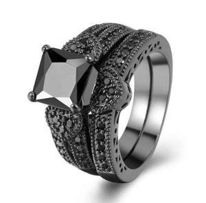 Anillo Compromiso Oro Negro 18k Churumbela Diamante Negro