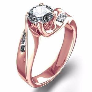 Anillo Oro Rosa 18kt.80ct Diamantes Y Zafiro Blanco Marloz