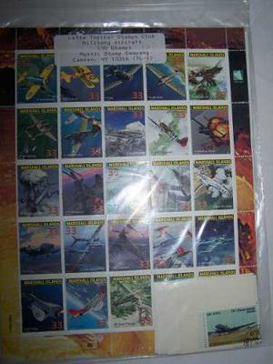 Colección De Timbres Tema Aviones De Combate