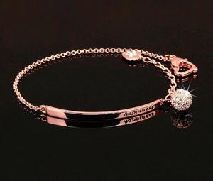 Pulsera Oro Rosa 18kgp Swarovski Elements, Happiness Regalo