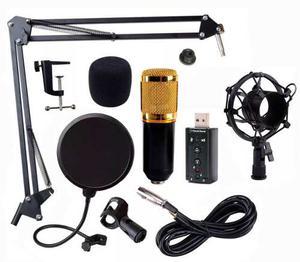 Set Microfono Condensador Usb Youtuber Tarjeta Negro