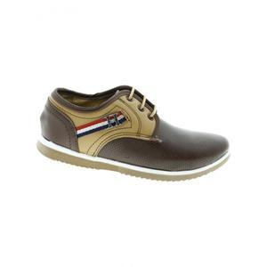 Zapatos Comodos Para Niño Piel Perforado Cafe Miel Marca