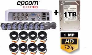 2 Kit Video Vigilancia 8 Camaras Epcom 720p Disco De 1 Tb