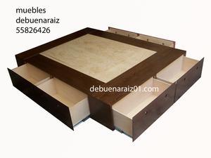 Base Para Colchon Cama Con Cajones Minimalista De Madera