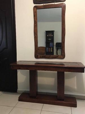 Consoleta y espejo de madera 100% caoba