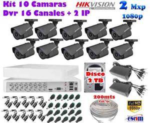 Kit 10 Camaras Hikvision p 2 Mpx Cctv 2tb Dvr 16 Ch Utp