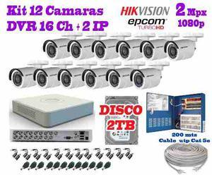 Kit 12 Camaras Hikvision p 2 Mpx Cctv 2 Tb Dvr 16 Canele