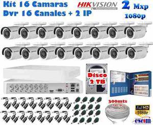 Kit 16 Camaras Hikvision p 2 Mpx Cctv 2tb Dvr 16 Ch Cabl