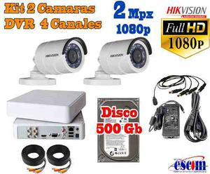 Kit 2 Camaras Hikvision 2 Mp Dvr 4ch p Bala Metal 500gb