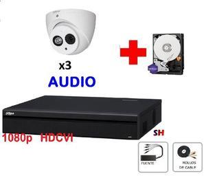 Kit 3 Camaras p Dahua Domo Audio Cctv Hdcvi Ir Disco 1tb
