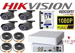 Kit Circuito Cerrado 4 Cámaras Epcom Hd p Hikvision 1tb