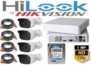 Kit Circuito Cerrado Hilook 4 Cámaras Hd 720p / 1mp 500gb