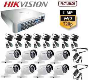 Kit Video Vigilancia 8 Cámaras Hikvision Hd 720p Cctv